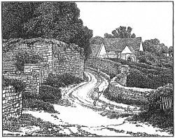 Calf Lane, Chipping Campden. Wood engraving from a drawing by FL Griggs, 1917.